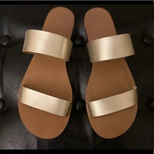 J CREW Gold Leather Sandals size 8